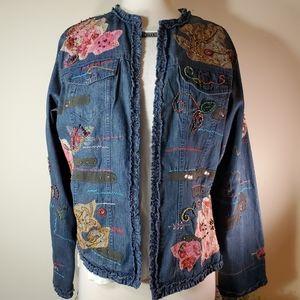 Artsy CHICO'S Beaded embellished denim jacket sz 8